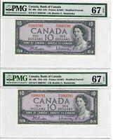 Canada $10 Dollars 2 Pair Banknotes 1954 BC-40b PMG Superb GEM UNC 67 EPQ