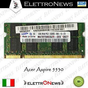 Memoria Ram Samsung Da 2GB DDR2  PC2-5300 Per Acer Aspire 5530