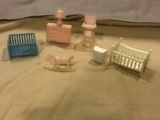 Vintage 7 Pieces Of Superior-Marx Doll House Furniture, baby's bedroom + other