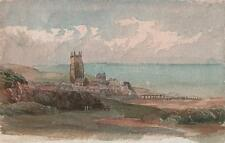 LAURENCE GEORGE BOMFORD Painting c1895 IMPRESSIONIST COASTAL CHURCH LANDSCAPE