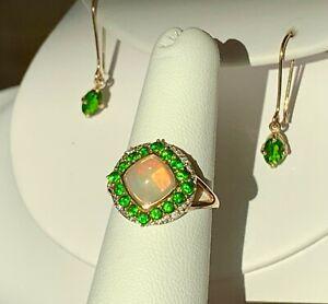 Ethiopian Opal Chrome Diopside Ring Earrings 10k gold set Sz. 6 topaz 4.51g