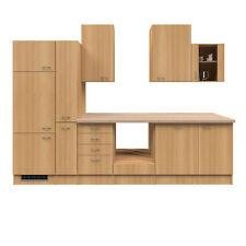 Küche ohne Elektrogeräte Küchenzeile Küchenblock Einbauküche 310 cm buche
