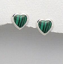NEW 8MM SOLID Sterling Silver 925 Genuine Malachite HEART Studs Earrings