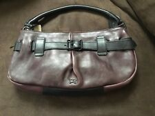 BURBERRY DARK BURGUNDY SATCHEL HANDBAG WITH BLACK WRAP BUCKLE NEW WITH TAGS