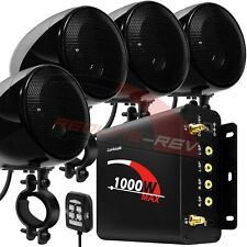 1000W Amp Waterproof Bluetooth Motorcycle ATV Stereo 4-CH Speakers Audio System