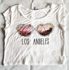 Los Angeles Crop Top Sunglasses Charlotte Russe Size M White Rhinestones Sunset