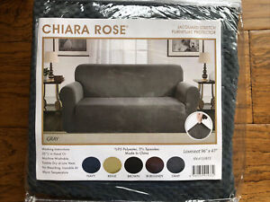 "Chiara Rose Jacquard Stretch Gray Loveseat Slip Cover 96""x47"" Furniture Protect"