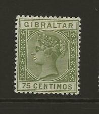 GIBRALTAR 1889-96 QV SG29 75c Olive Green Fine MINT Hinged Cat £32