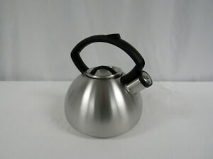 COPCO METAL WHISTLING TEA POT KETTLE SILVER Brushed Stainless Look