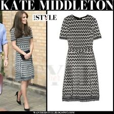 Tory Burch Paulina Fringe A-Line Dress Royal Dutchess Kate Celeb 8 10 Size M