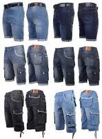 Mens Crosshatch Denim Cargo Shorts Designer Jeans Cargo Casual 3/4 Knee Length