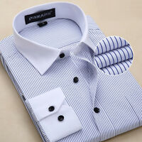 Mens Dress Shirts Long Sleeve Luxury Striped Formal Slim Casual Business TC6309