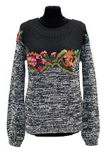 TWIN SET SIMONA BARBIERI GREY WOOL KNIT FLOWER JUMPER M 12/14 L 14/16 199