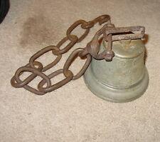 "ANTIQUE SWISS 1878 SAIGNEIEGIER CHIANTEL FOUNDEUR 5"" ACROSS BRONZE BELL W/ CHAIN"