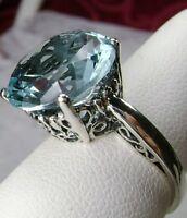 5ct *Blue Aquamarine*Gem Solid Sterling Silver Filigree Ring (Made To Order)