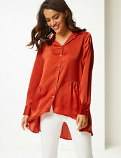 Per Una Satin Dipped Hem Long Sleeve Top/ Blouse Size 12 BNWT