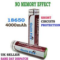 2X 18650 4000 mAh 3.7V Li-ion Rechargeable Battery For UltraFire LED Flashlight