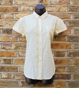 Burberry Brit Women White & Yellow Striped Short Sleeve Button Down T-Shirt XS