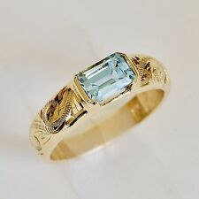 NATURAL BLUE TOPAZ RING HAND ENGRAVED BAND 9K 375 GOLD SIZE O GIFT BOXED NEW