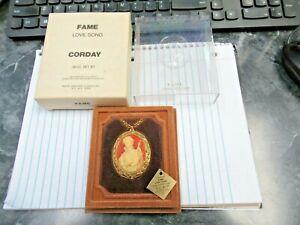 Vintage Corday Fame Love Song Cameo Pendant Creme Perfume Locket &Original Boxes