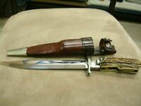 Hoffritz Germany Rare Stag Folding Bowie Knife & Leather Sheath Factory Sample
