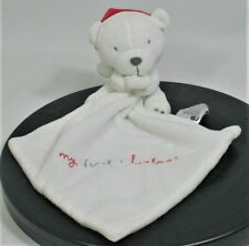 Mothercare White My First Christmas Bear Comforter Doudou with Red Santa hat