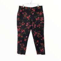 Talbots Women's Petite 16 16P Heritage Cropped Pants Silk Cotton Floral Black