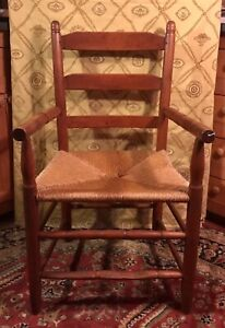 Early American Slat Back Arm Chair with Rush Seat and Sausage Turnings ca1800
