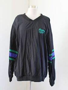 Vtg Mens Snap On Racing ColorBlock Pullover Windbreaker Jacket Size XL Black