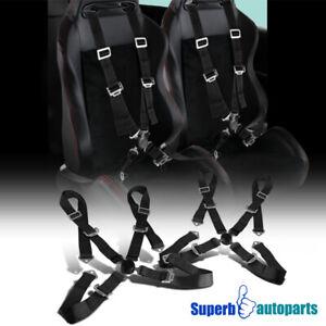 2 x Black 4 Point Camlock Racing Sealt Belts Safety Harness