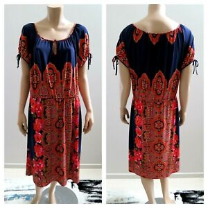 LEONA EDMISTON Black Short Sleeve Jersey Dress sz 16  .E22