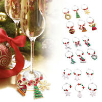 6Pc Christmas Wine Glass Charms Ring Various Drink Marker Xmas Party Table Decor