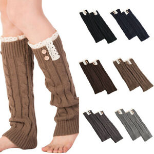 Ladies Knitted Crochet Buttons Leg Warmers Warm Leg Sleeve Boot Socks Accessory
