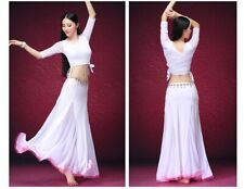 Women Belly Dance Dress, Long Sleeve, 3 Pieces, white XL
