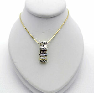 Gorgeous 14k Yellow Gold Slide Diamond 0.50 tcw Charm Pendant Chain Necklace