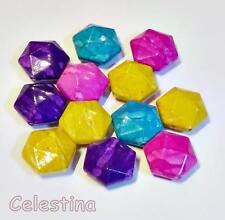 10 Hexagon Beads 19mm - Faux Gemstone - Marble Blue Pink Yellow Purple PB75