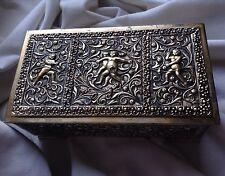 Vintage Italian Metal Box Silver Gold Color Dancing Cherubs Putti Angel Jewelery