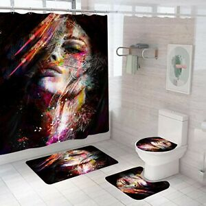 Bathroom Rug Set Shower Curtain Bath Mat Non-Slip Toilet Lid Cover Pedestal Mat