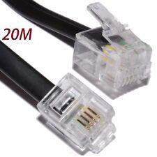 20m Meter RJ11 to RJ-11 ADSL Broadband Internet Router Modem DSL Phone Cable UK
