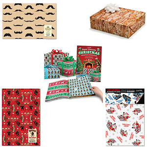 Novelty Christmas Gift Wrap (Choose Your Style) Mustache Bacon Krampus Book