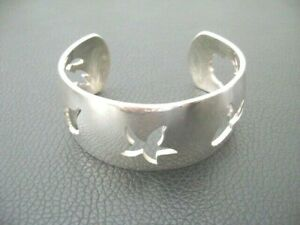 Authentic HERMES Sterling Silver(925) Cuff Bracelet
