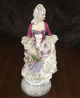 Porcelain Lady Figurine With Porcelain Lace Made In Chantilly France