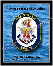 USS Russell DDG 59 Personalized Ship Crest Print on Canvas 2D Effect
