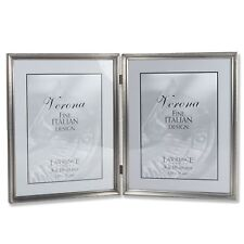 Lawrence Frames Antique Pewter 8x10 Hinged Double Picture Frame - Bead Border.