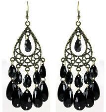C1241 bronze water drop black bead cute women chandelier/dangle hook earrings