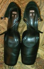 Pair of black leather ladies shoes size 5 by M&S wedge heel & ancle strap