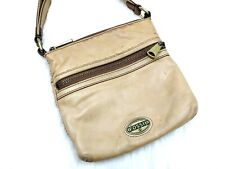 Fossil Light Brown Leather Small Crossbody Bag Canvas/Leather Adjustable Strap