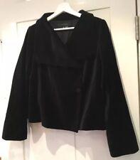 Ladies ZARA WOMAN Black Velvet Oversized Collar Short Jacket Coat Size Large VGC