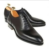 Men's Handmade Black Leather Men Oxford Whole Cut Shoes For Men-Goodyear Welted.