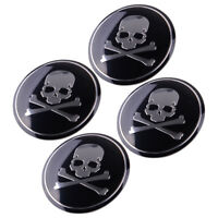 4x 56mm Car SUV Metal Cross Bone Silver Skull Badge Sticker Wheel Center Hub Cap